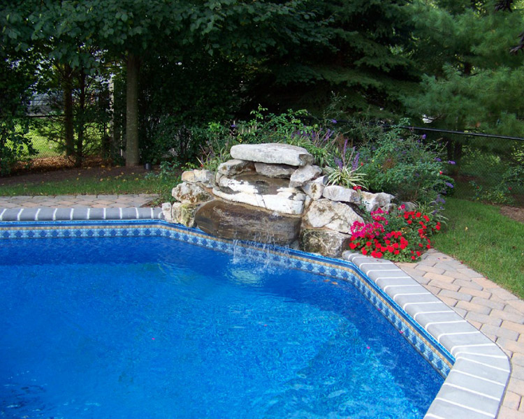 In-Ground Vinyl Liners, landscaping, waterfalls, pool features
