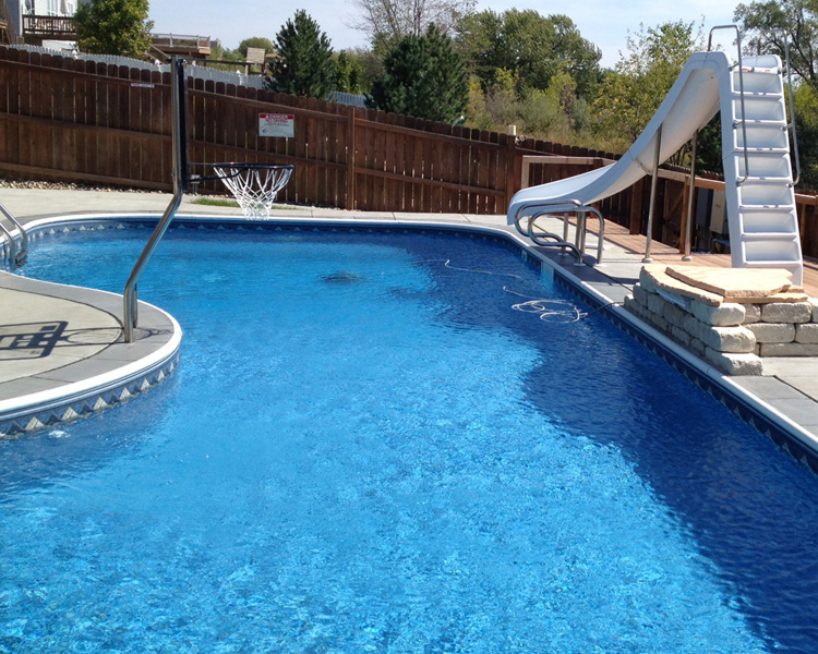 Swimming Pools, InGround Liners, poolside basketball, pool slides
