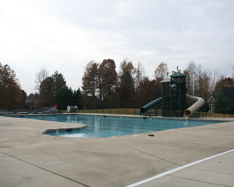commercial swimming pool before cover installation