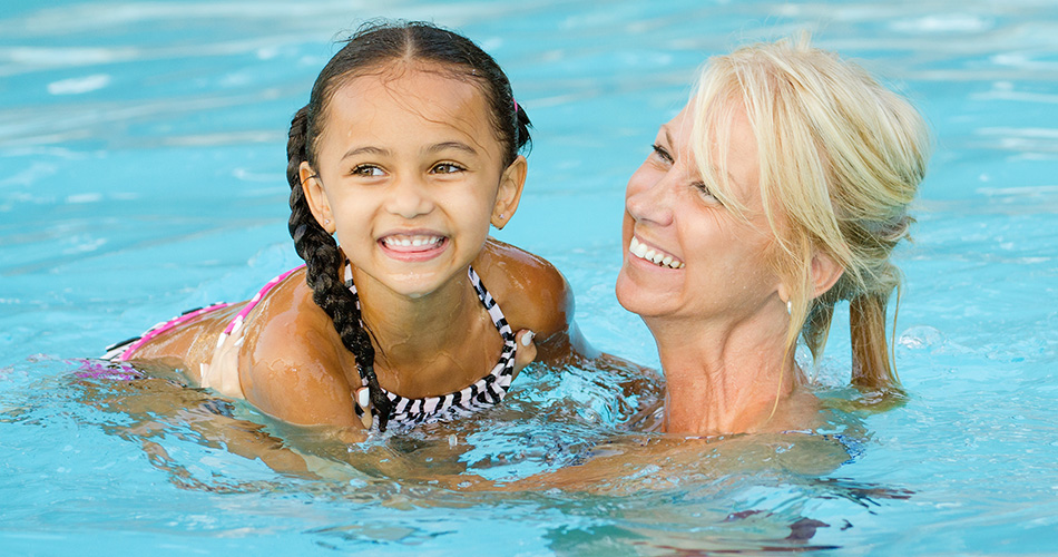 little girl and mom swimming, above ground pools, above ground swimming pools, highland pools, highland above ground pools